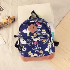 Cotton Canvas Kids Backpack Snoopy Kartun Dicetak Bayi TK Schoolbag Cute Keluar Travel Casual Shoulder Bags untuk 3-6 Tahun Anak-Intl