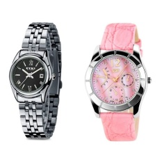 (Pasangan) EYKI E-Kali W8470 Ladies Stainless Steel Watch SilverBlack + SKMEI 6911 Ladiess Fashion Penyempurnaan Yang Elegan Pink GenuineLeather Strap Watch-Intl