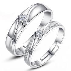 Pasangan Cincin Jewellry 925 Perak Adjustable Pecinta Cincin Perhiasan E018-Intl