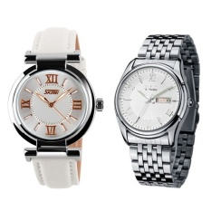 (Pasangan) SKMEI 9075 Ladiess Fashion Elegan Putih Asli Tali Kulit Watch + EYKI E-Kali W8470 Pria Stainless Steel Watch SilverWhite -Intl
