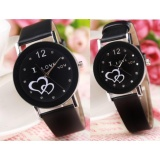 Harga Couple Watches Love Korean Style Analog Watch Cowo Cewe Jam Tangan Kulit Hitam Yang Bagus