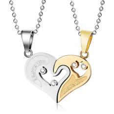 Pasangan Perhiasan Diamond Heart Puzzle Titanium Steel Heart Pendant Kalung-Intl