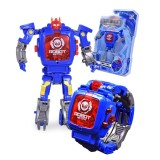 Toko Manual Kreatif Transformasi Robot Mainan Anak Anak Elektronik Watch Pengembangan Kecerdasan Cacat Robot Mainan Gaya Blue Square Tutup Internasional Online Terpercaya