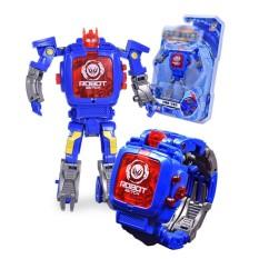 Spesifikasi Manual Kreatif Transformasi Robot Mainan Anak Anak Elektronik Watch Pengembangan Kecerdasan Cacat Robot Mainan Gaya Blue Square Tutup Internasional Terbaru