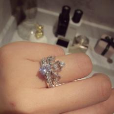 Crown berlian penuh berlian baris cincin cincin