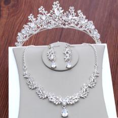 Crown Gaun Pengantin Gaun Menikah Model Korea Kalung Anting
