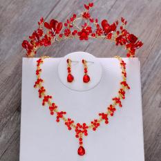 Crown Merah Cina Baju Pelayanan Gaun Pengantin Gaun Kalung