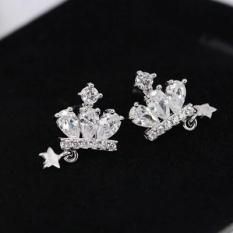 Mahkota Perak 925 Sterling Perak Berlian Imitasi Zirkon Anting Kecil