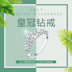 Mahkota Perak S925 Murni Perak Berlapis Platinum Bertatah Berlian Bor Cincin