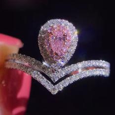 Mahkota S925 Merah Muda Perak Berlian Berwarna Berlapisan Emas Cincin