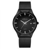 Harga Termurah Crrju 2127 Fashion Pria Quartz Watch Ultra Tipis Stainless Steel Tali Jam Tangan Hitam Internasional