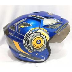 Beli Crypton Helm Helmet Dewasa Biru List Orange Dengan Kartu Kredit