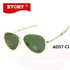 CRYSATL CERITA Brand New Army MILITER AO Sunglasses Pria Amerika Optik Aviator Lensa 12 K Berlapis Emas Pilot Sun Kacamata Caravan Crystal Green Lensa-Intl