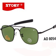 CRYSATL CERITA Brand New Army MILITER AO Sunglasses Pria Amerika Optik Aviator Lensa 12 K Berlapis