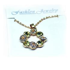 Kalung Wanita Crystal Full of Diamond Drop Pendant Necklace 925 Sterling Silver  - Golden