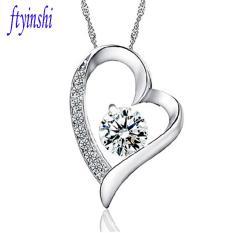 Cubic Zircon Jantung Klasik Gaya dengan Rantai Emas Putih Hearts dan Arrows Pendant Necklace Fine Perhiasan untuk Wanita/Gadis Hadiah-Intl