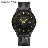 Jual Cuena Chronograph Pria Quartz Watch Stainless Steel Mesh Band Gold Watch Slim Internasional Baru