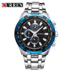 Beli Curren 8023 Pria Jam Tangan Quartz Watch Tahan Air Silver Blue Black Online Terpercaya