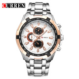 Curren 8023 Pria Jam Tangan Quartz Watch Tahan Air Silver Gold Diskon Tiongkok