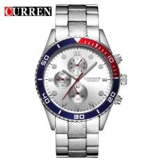 CURREN 8028 Elegan QUARTZ Steel Watch Mens Jam Tangan dengan Point Timbangan/Round Dial Silver Putih