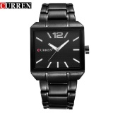 Diskon Curren 8132 Pria Fashion Quartz Analog Steel Watch 3 Atm Tahan Air Jam Tangan Hitam Internasional