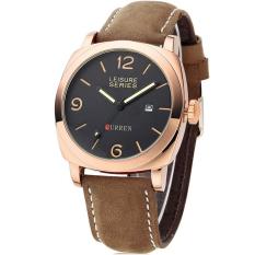 Promo Curren 8158 Leisure Series Casual Style Watch Coklat List Gold Murah