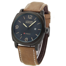 Beli Barang Curren 8158 Leisure Series Casual Style Watch Coklat List Hitam Online