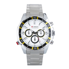 Beli Curren 8184 Men S Watches Fashion Casual Full Steel Olahraga Militer Watches Round Dial Putih Intl Cicilan