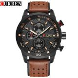 Harga Curren 8250 Pria Tahan Air Watch Kasual Tiga Eye Watch Leather Round Quartz Watch Brown Hitam Oranye Intl Terbaru