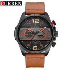 CURREN 8259 Pria QUARTZ Wrist Jam Tangan Kasual Jam Tangan Pria Militer Watches Tahan Air Watch Belt Large Dial Watch- Brown Black Hitam Kuning-Internasional