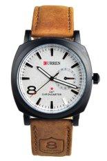 Diskon Curren Jam Tangan Pria Cokelat Putih Strap Leather 8139 Branded