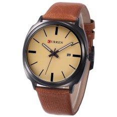 Promo Curren Pria Kalender Casua Genuine Leather Quartz Watch Multicolor Tiongkok