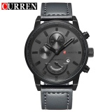 Curren Pria Olahraga Quartz Militer Watches Male Date Leather Casual Watch 8217 Grey Black Intl Tiongkok