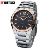 Jual Curren Men S Analog Display Date Alloy Strap Quartz Casual Watches 8103 Intl Silver Curren Murah