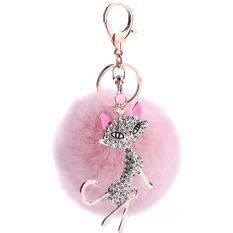 Cute Fox Rabbit Fur Ball Fluffy Gantungan Kunci Rings Crystal Rhinestone Hotsale Tas Pendant Keyrings Gantungan Kunci (Pink) -Intl