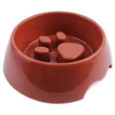 Cute Pet Feeding Bowl For Dog Cat Plastic Paw Print Slow Feeder Bowl Anti-bloating Dog Bowl 17.5x22x7cm (Brown)