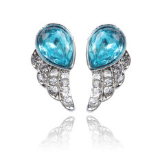 Gaya Lucu Biru Perhiasan Angels Wing dengan Wanita Berhias Berlian Imitasi Anting