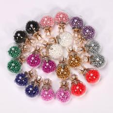 Lucu Transparan Candy Color Sequin Double Side Round Pearl Anting Resin Crystal Ball Ear STUDS-Kuning-Intl