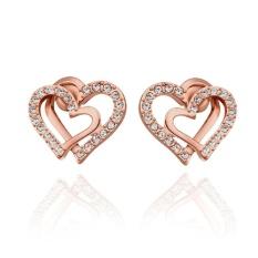 Cy-buity Gaya Korea 18 K Emas Putih Berlapis Double Love Heart Shaped Rose-Warna Emas Earring Stud -Intl
