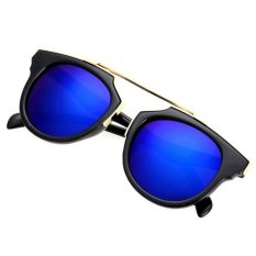 Toko Cyber Lady Women S Outdoor Round Glass Metal Casing Full Frame Sunglasses Blue Lengkap Hong Kong Sar Tiongkok