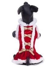 Penjualan Cyber Anjing Natal Dress Pet Merah Putih Beludru Patchwork Gaun Pakaian Pakaian-Intl
