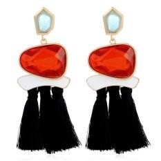 Cyber Penjualan Wanita Fashion Imitated Crystal Panjang Tassel Dangle Earrings Fringe Drop Earrings-Intl