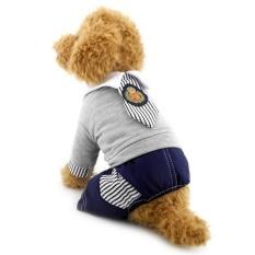 D-Pocket Doggy/Cat Jumpsuit untuk Wanita Pria Siswa Leisure Seragam Dogcostume Tie T-Shirt Pan Musim Panas Pakaian Abu-abu -Intl