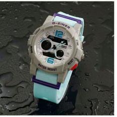 D-ziner D-01E10 Dual Time Jam Tangan Wanita Rubber Strap (BIRU-
