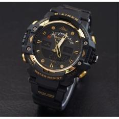 D-ziner D-64TER Dual Time Jam Tangan Pria Rubber Strap - (Hitam-Gold)