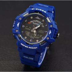 D-ziner D-64TER01 - Dual Time Jam Tangan Pria Rubber Strap - Biru