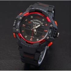 D-ziner D-64TER2 Dual Time Jam Tangan Pria Rubber Strap - (Hitam-MERAH)