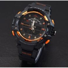D-ziner D-64TER3 Dual Time Jam Tangan Pria Rubber Strap - (Hitam-orange)