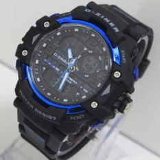 Beli D Ziner Dual Time Dz 8078 Black Blue Jam Tangan Pria Strap Karet Cicilan