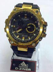 Diskon D Ziner Dual Time Dz 8132 Jam Tangan Sport Pria Rubber Strap Black Gold Combi Branded
